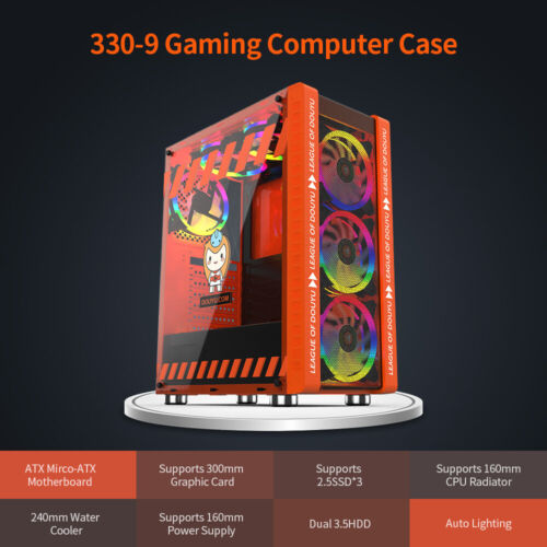 330-9 ATX Tower PC Case Gaming Computer Case Desktop with 3 RGB Fan