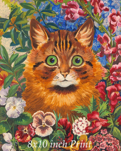 Cat in the Flowers by Louis Wain - Tabby Kitty Garden Blooms 8x10 Print 3271