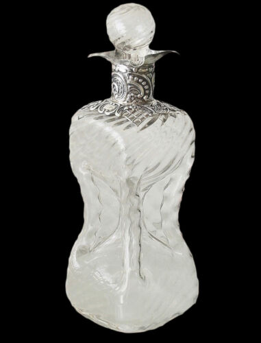 WILLIAM COMYNS Antique Decanter Sterling Silver Ornate Mount Swirled Glass