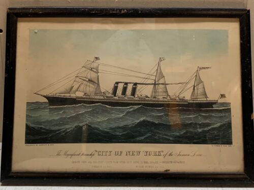 Antique CURRIER & IVES 'Magnificent Steamship NEW YORK of Inman Line' Lithograph