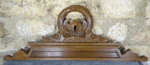 "32""  Antique French Hand Carved Wood Solid Chesnut Pediment - Crown"