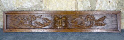 "24."" Antique French Hand Carved Pediment Wood Solid Oak Wood Gothique"