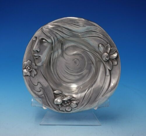 Art Nouveau by Mauser Sterling Silver Ring Dish w/Woman and Flower #386A (#4987)