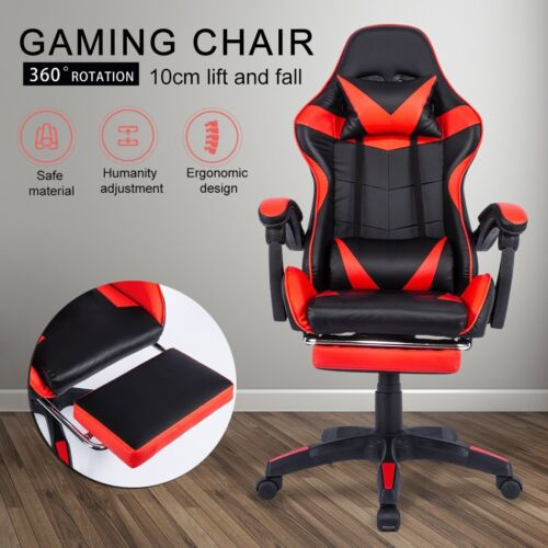 Gaming Chair Office Executive Computer Chairs Racing Footrest Racer <br/> Headrest&Backrest/ 360°Swivel/Adjustable Height/Recline