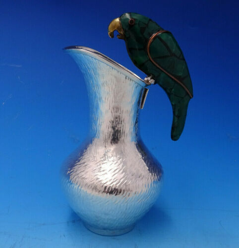 Mexican Silverplate Milk Pitcher with Green Parrot (#4654)