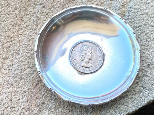 Solid Silver Dish - Sterling - One Dollar Coin - Wai Kee - Hong Kong Sterling