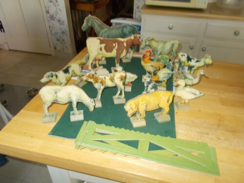 EARLY 1900S COMPLETE SET BRADLEY TOY ANIMALS WITH ORIGINAL BOX DOMESTIC ANIMALS