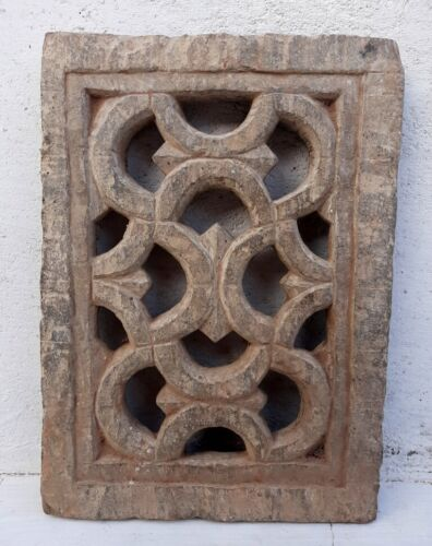 Ancient Rare Stone Hand Carved Fine Jali Cut Mughal Architectural Window Panel