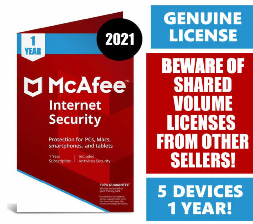 McAfee Internet Security 2021 (5 Devices - 1 Year) PC - Mac - Android - IOS