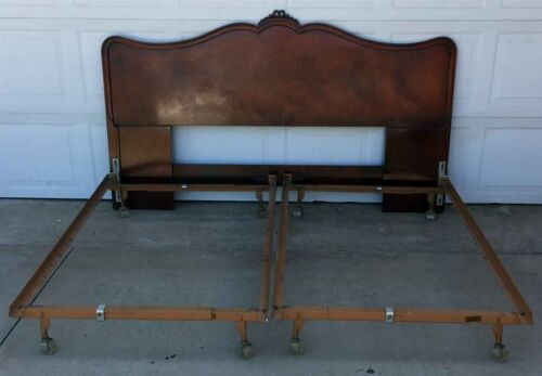 Antique Headboard with two twin metal bedframes. ca 1960's - Heavy Wood - curved