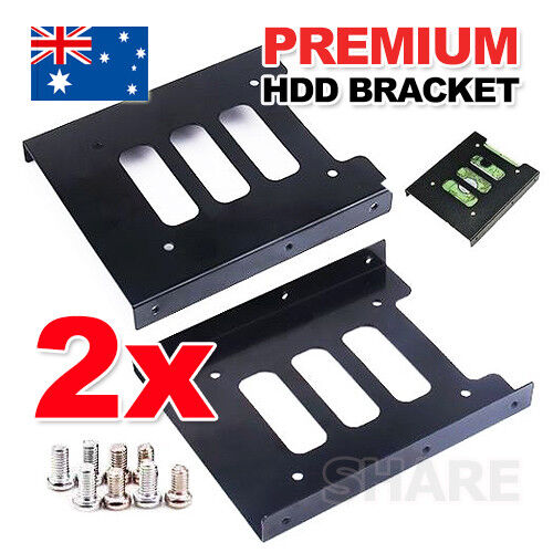 """2X Black 2.5"""" SSD to 3.5"""" Bay Hard Drive HDD Mounting Dock Tray Bracket Adapter"""