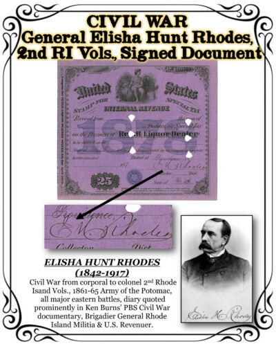 CIVIL WAR General Elisha Hunt Rhodes, 2nd RI Vols.,1878 Signed Tax StampDocuments - 165589