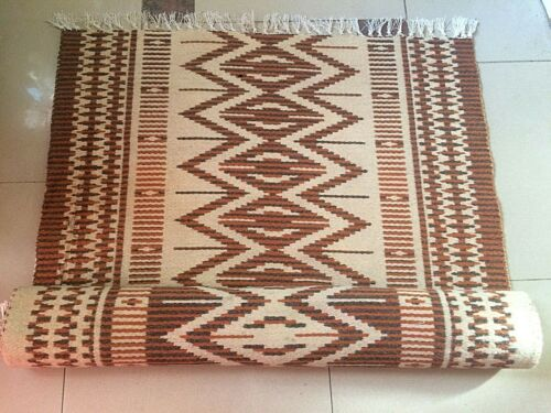 Antique Albanian traditional  wool carpet kilim brown and beige rug-132cm x 75cm