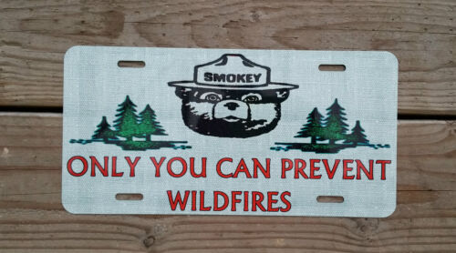 """U.S. FOREST SERVICE SMOKEY BEAR METAL LICENSE PLATE  6""""X12"""" ONLY YOU CAN PREVENT"""
