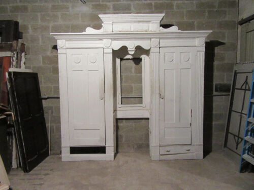 ANTIQUE CARVED OAK CLOSET FRONT~ BUILT IN ARMOIRE~ 112 X 105 ~ SALVAGE