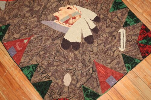 Vintage American Hook Hooked Chief Dated 1956 Rug Size 3'x4'