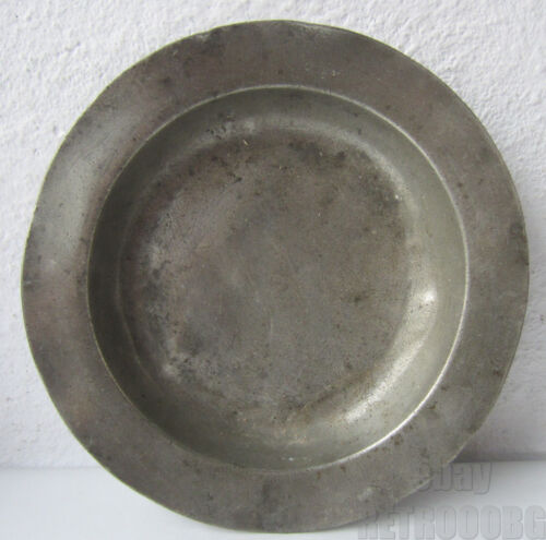 "9""   Antique pewter plate marked .. FARMHOUSE RUSTIC PRIMITIVE metal dish"