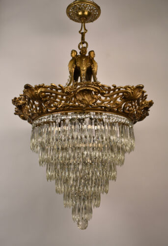 Large Figural Wedding Cake Crystal Chandelier Oscar Bach Segar Studios Era
