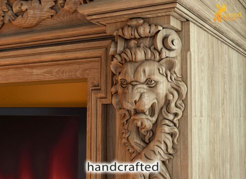 PAIR Carved Corbels Lion Wood Carving Decor For Fireplace Surround