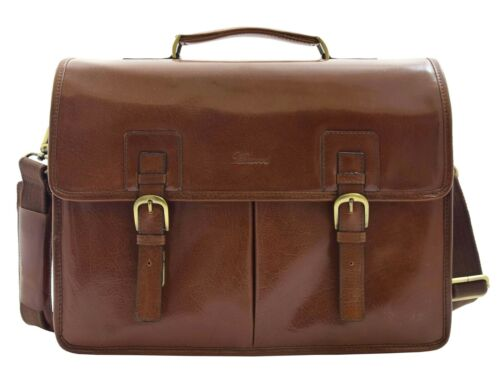 Mens Italian Leather Brown Briefcase Expandable Office Bag Messenger Laptop Case