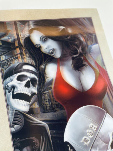 Skulls Hot Girl in red lenticular Poster picture 3D never used