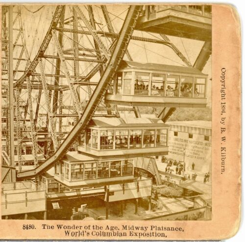 FERRIS WHEEL, Closeup of Cars Columbian Exposition 1896--Kilburn Stereoview C40