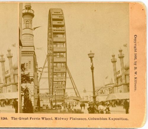 FERRIS WHEEL, Midway Plaisance Columbian Exposition 1896--Kilburn Stereoview C41