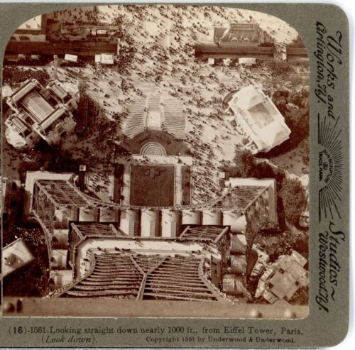 PARIS EXPOSITION,Looking Down 1000 Ft.From Eiffel Tower-Underwood Stereoview C49