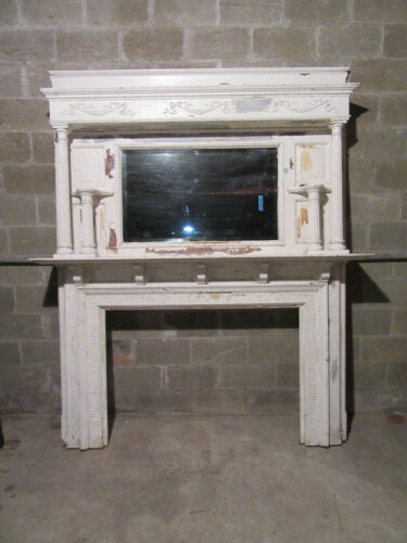 "~ HUGE ORNATE ANTIQUE FIREPLACE MANTEL ~ 50"" OPENING OVERALL 80 X 96 ~ SALVAGE"