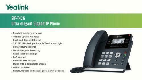 Yealink T42G IP Phone HD Voice With Power Supply Adapter
