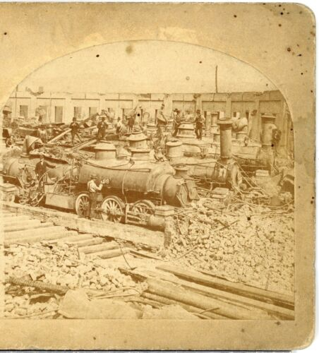 RAILROAD STRIKE, Ruins at 2nd Round House, c.1877--J.R Riddle Stereoview  C61