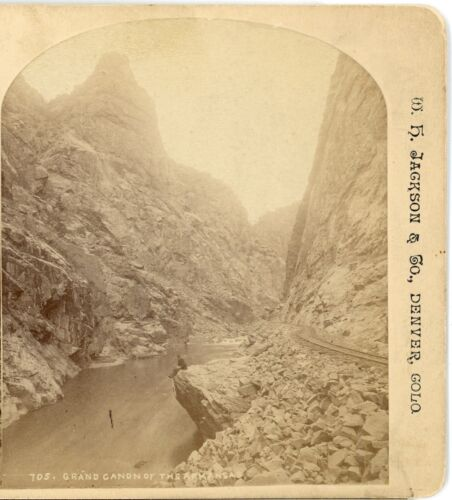 W.H. JACKSON, Grand Canon of the Arkansas-- Stereoview  C70
