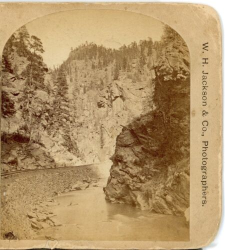 W.H. JACKSON, Rocky Point, Clear Creek Canon--Stereoview  C72