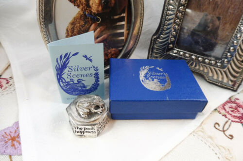 Fabulous Silver Plate Welsh Handcrafted Lidded Pill Box Frog On Lid Original Box