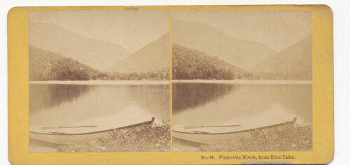 NH * Franconia Notch from Echo Lake ca. 1870 Stereoview * Kilburn # 84