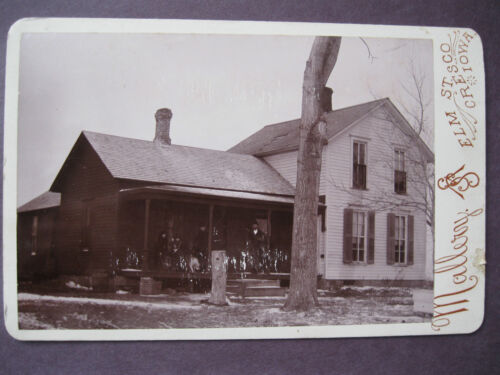 Vintage Cabinet Card Photo Family Home People & Dog on Porch Mallery Cresco, IA