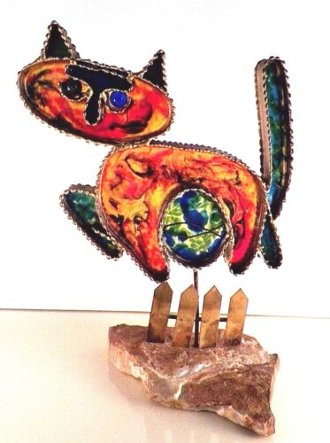 "Curtis Jere Cat Sculpture Signed C Jere 1968 MCM Cat On A Fence 12 1/2""H"