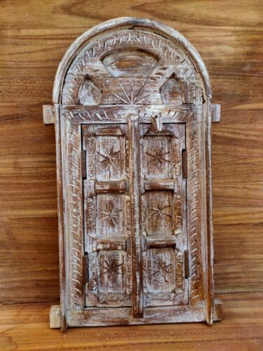 Wooden Carved Floral Cabinet Window Door With Frame Handing Home Decor Window