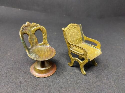 Antique Brass Floral Carved King Queen Chair Modal Hand Crafted Home Decor