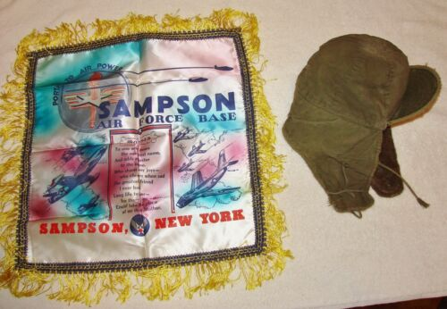 Korean Era USAF M1951 Hat with Flaps and a Sampson Air Force Base Pillow CaseOriginal Period Items - 586