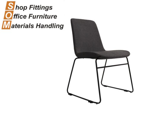 TEMPO GREY FABRIC VISITOR CONFERENCE HOSPITALITY CHAIR WITH SLED BASE