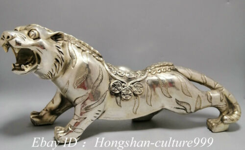 China Silver Fengshui 12 Zodaic Year Tiger Downhill Tiger Tigers Animal Statue