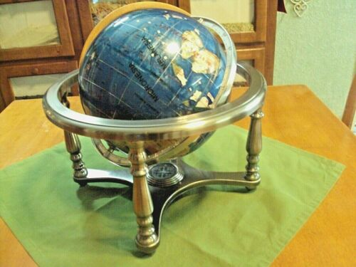 World Desk Globe Inlaid Precious Gem Stones on brushed Metal Stand with Compass