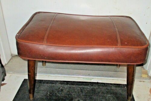 Vintage MCM  Brown  Vinyl footstool ottoman hassack stool!