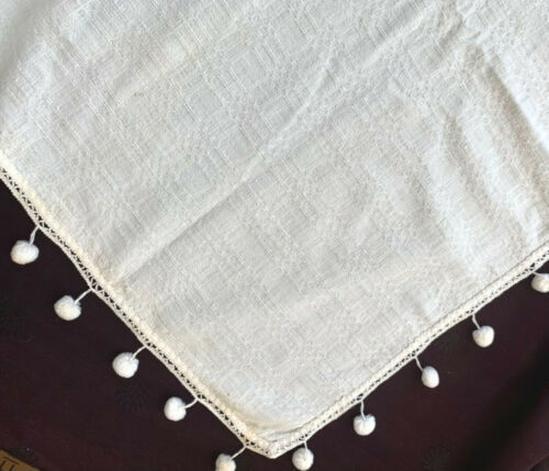 """v antique rustic white linen tablecloth handwoven pattern w ball fringe ~55"""" sq."""