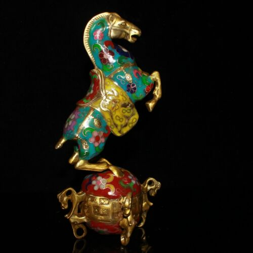 China Cloisonne Enamel Bronze Wire Inlay Gilding Horse Tread The Universe Statue