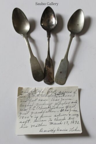 late 18th 19th century Sterling & nickel Silver spoons with written provenance