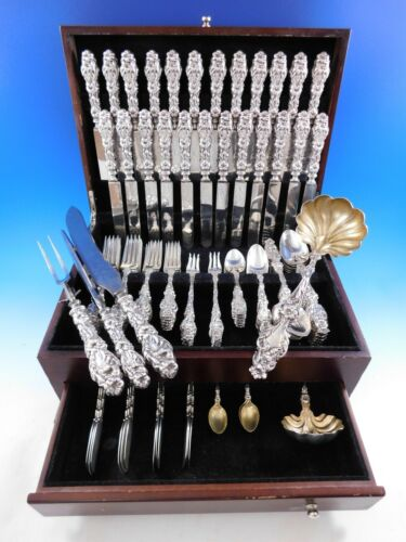 Lily by Whiting Sterling Silver Flatware Set for 12 Service 113 pcs Dinner Old