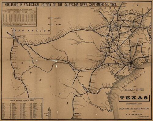 Map of the railroad system of Texas c1883 repro 18x24