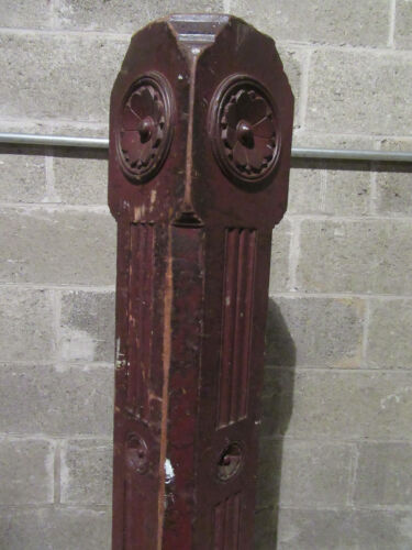 ~ ANTIQUE CARVED WALNUT NEWEL POST 48 TALL ~  ARCHITECTURAL SALVAGE ~